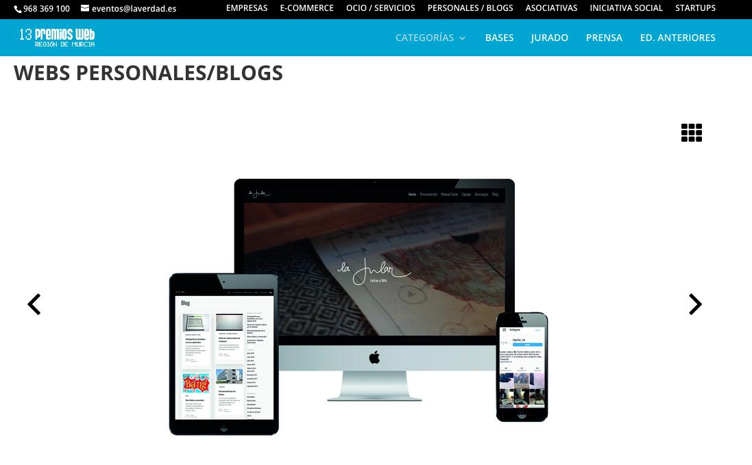 Nuestro blog, candidato en los 13 Premios Web de La Verdad